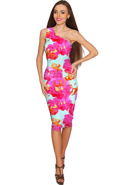 Sweet Illusion Layla One-Shoulder Pink Floral Dress - Women
