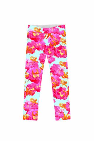 Sweet Illusion Lucy Cute Pink Floral Printed Leggings - Girls - Pineapple Clothing