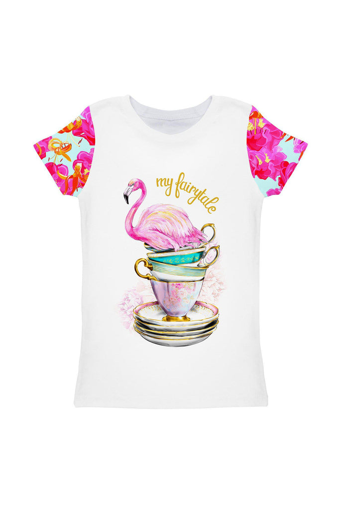 Sweet Illusion Zoe White Pink Cute Flamingo T-Shirt - Girls