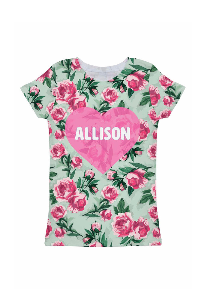 Sweetheart Customized NAME Zoe Pink Green Tee - Girls - Pineapple Clothing