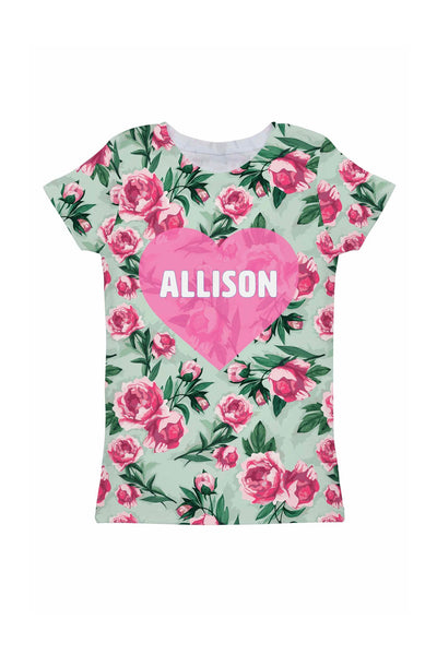 Sweetheart Customized NAME Zoe Pink Green Tee - Girls