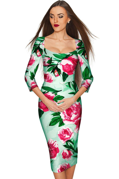 Sweetheart Lili Green Floral Bodycon Midi Dress - Women