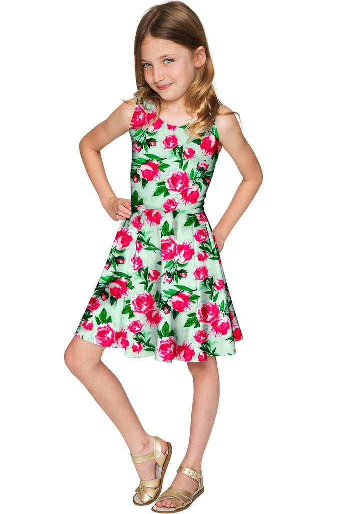 Sweetheart Mia Fit & Flare Green Flower Print Dress - Girls - Pineapple Clothing