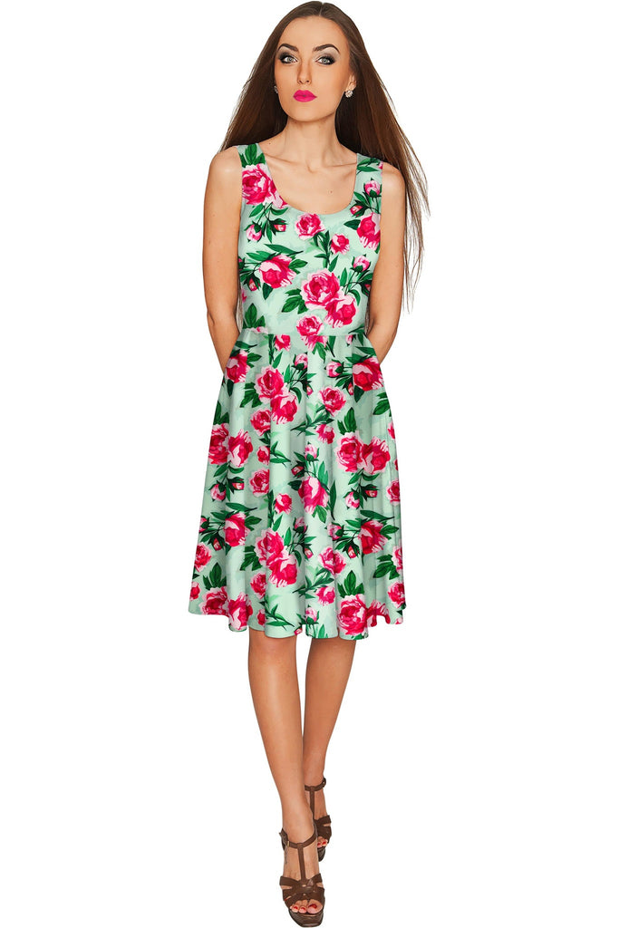 Sweetheart Mia Green Floral Skater Party Dress - Women - Pineapple Clothing