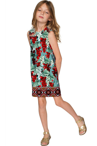 Toscana Adele Trendy Green Printed Shift Dress - Girls - Pineapple Clothing