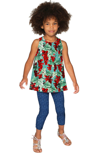 Toscana Emily Green Print Sleeveless Trendy Eco Top - Girls