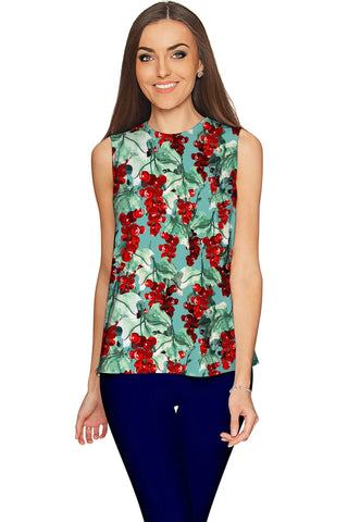 Toscana Emily Grape Print Green Sleeveless Top - Women - Pineapple Clothing