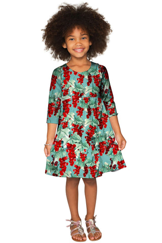 Toscana Gloria Empire Waist Green Printed Dress - Girls - Pineapple Clothing