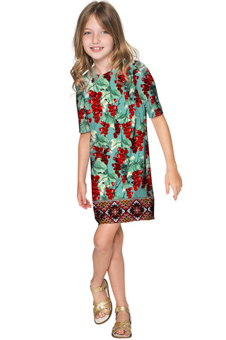 Toscana Grace Green Printed Elbow Sleeve Shift Dress - Girls - Pineapple Clothing