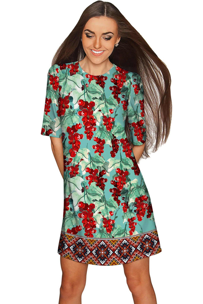 Toscana Grace Green & Red Sleeved Shift Dress - Women - Pineapple Clothing