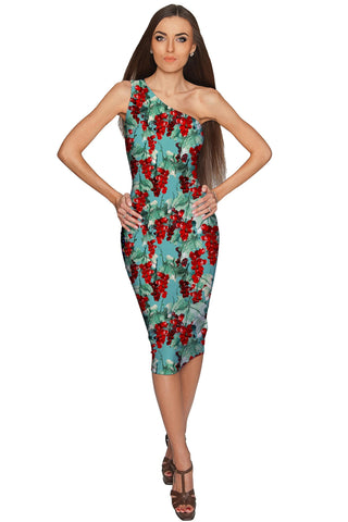 Toscana Layla One-Shoulder Green Midi Eco Dress - Women - Pineapple Clothing