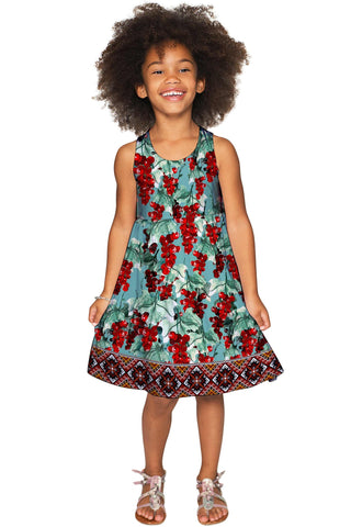 Toscana Sanibel Green & Red Pattern Empire Dress - Girls - Pineapple Clothing