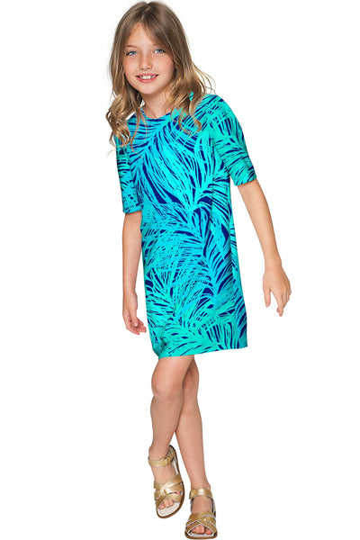 Tropical Dream Grace Green Sleeved Chic Shift Dress - Girls