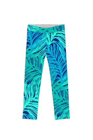 Tropical Dream Lucy Cute Blue Green Printed Leggings - Girls - Pineapple Clothing