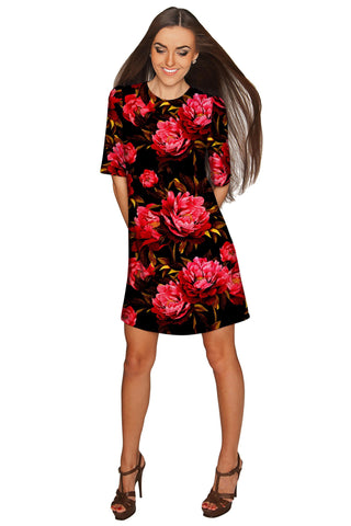 True Passion Grace Black Floral Party Shift Mini Dress - Women