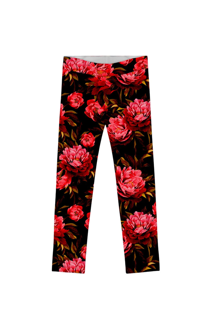 True Passion Lucy Black Floral Print Fancy Leggings - Girls - Pineapple Clothing
