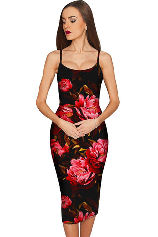 True Passion Olivia Black Floral Cocktail Midi Dress - Women - Pineapple Clothing