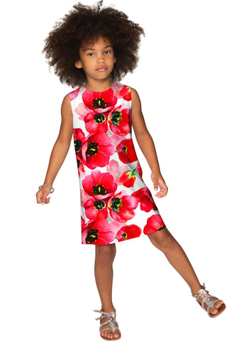 Tulip Salsa Adele Unique Red & White Floral Shift Dress - Girls - Pineapple Clothing