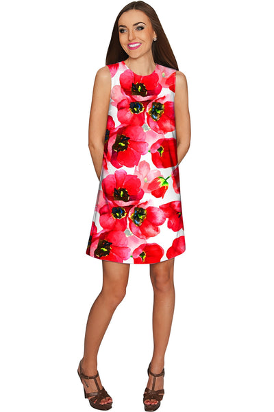 Tulip Salsa Adele Red Floral Summer Shift Dress - Women
