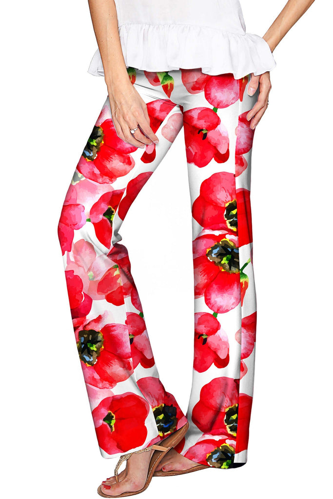 Tulip Salsa Amelia Red Flower Print Palazzo Pant - Women - Pineapple Clothing