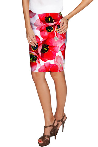 Tulip Salsa Carol Red Summer Stretch Pencil Skirt - Women - Pineapple Clothing