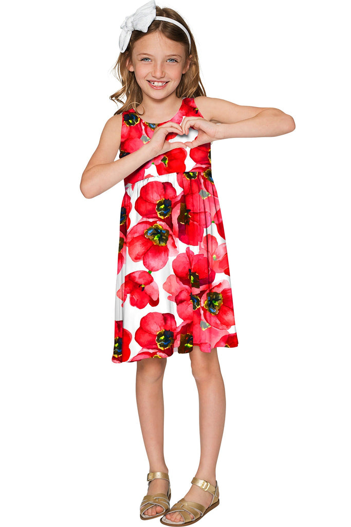 Tulip Salsa Sanibel Empire Waist Red Floral Knit Dress - Girls - Pineapple Clothing