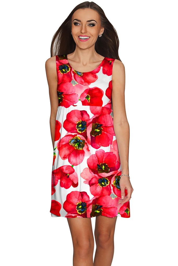 Tulip Salsa Sanibel Empire Waist Red Summer Dress - Women - Pineapple Clothing