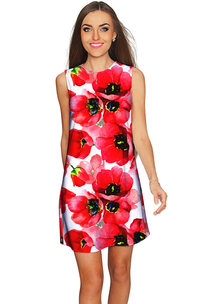 Tulip Salsa Adele Red Floral Summer Shift Dress - Women - Pineapple Clothing