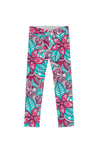 Under The Sea Lucy Cute Green Pink Printed Leggings - Girls - Pineapple Clothing