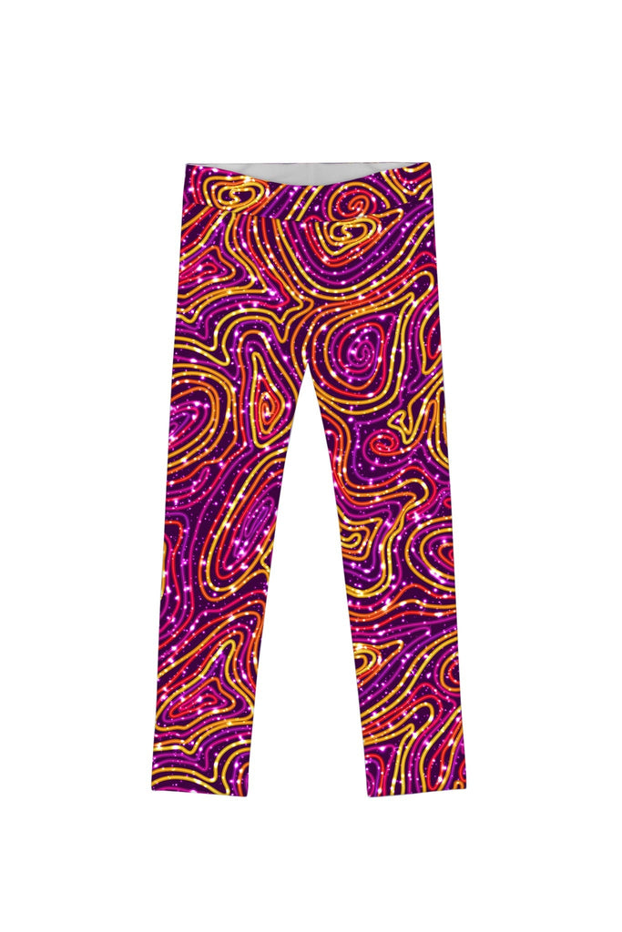 Vibrant Galaxy Lucy Trendy Purple Printed Leggings - Girls - Pineapple Clothing