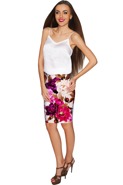 Vintage Charm Carol Stretch Knit Floral Pencil Skirt - Women