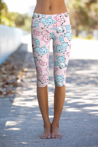 Call Me Kitty Ellie Pink Cat Print Yoga Capri Leggings - Women - Pineapple Clothing