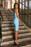 Baby Blue Stretchy Lace One-Shoulder Bodycon Party Dress - Women - Pineapple Clothing
