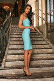 Mint Blue Lace One-Shoulder Bodycon Cocktail Party Midi Dress - Women - Pineapple Clothing