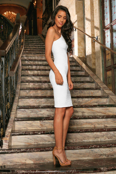White Lace One-Shoulder Bodycon Cocktail Party Midi Dress - Women
