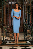 Blue Stretchy Half Sleeve Trendy Bodycon Cocktail Midi Dress - Women - Pineapple Clothing