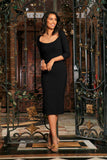 Black Stretchy Three-Quarter Sleeve Bodycon Party Midi Dress - Women - Pineapple Clothing