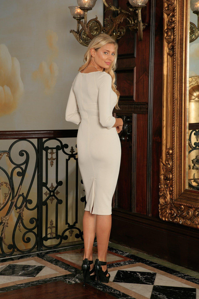 Ivory Beige Stretchy Three-Quarter Sleeve Bodycon Midi Dress - Women - Pineapple Clothing
