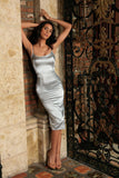 Silver Grey Sleeveless Bodycon Evening Cocktail Midi Dress - Women - Pineapple Clothing