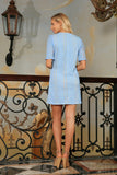 Baby Blue Crochet Lace Sleeved Cocktail Party Shift Mini Dress - Women - Pineapple Clothing