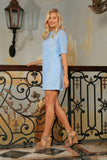 Baby Blue Crochet Lace Trendy Mother Daughter Shift Dress Plus Size - Pineapple Clothing