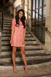 Dusty Pink Lace Elbow Sleeve Cocktail Party Shift Mini Dress - Women - Pineapple Clothing