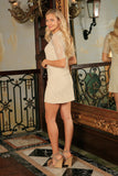 Beige Stretchy Lace Elbow Sleeve Spring Party Shift Mini Dress - Women - Pineapple Clothing