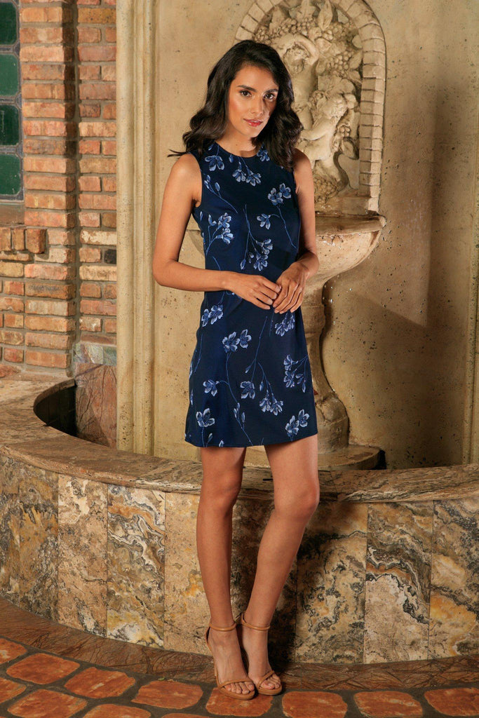 Navy Blue Floral Sleeveless Evening Party Shift Mini Dress - Women - Pineapple Clothing