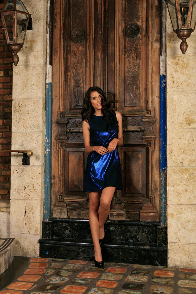 Navy Blue Metallic Sleeveless Evening Party Shift Mini Dress - Women - Pineapple Clothing