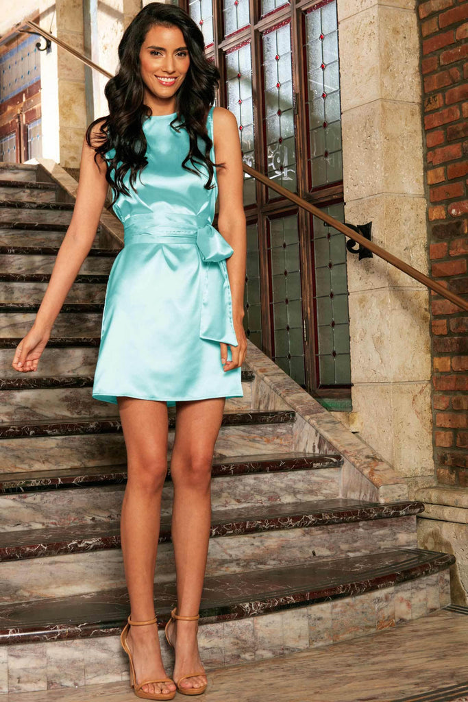 Light Blue Sleeveless Summer Party A-line Mini Dress With Belt - Women - Pineapple Clothing