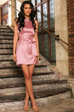 Dusty Pink Victoria Charmeuse Shift Party Dress with Belt - Women - Pineapple Clothing