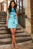 Turquoise Blue Victoria Charmeuse Party Dress with Belt - Women - Pineapple Clothing