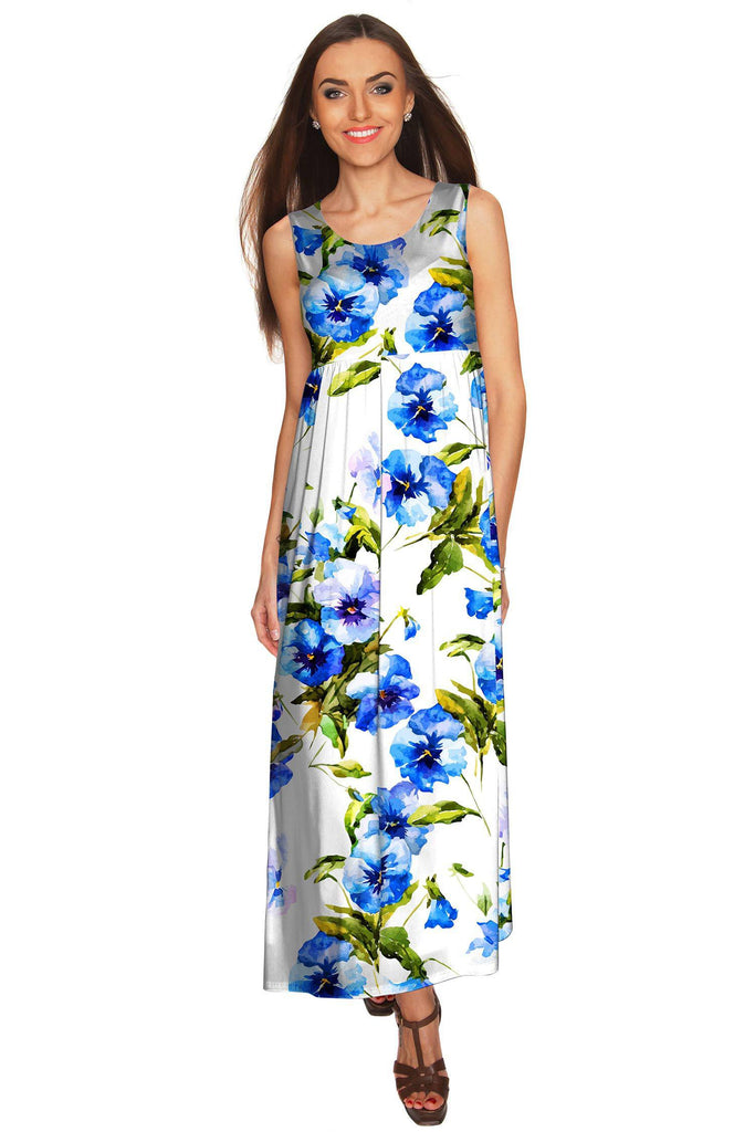 25a075bbcd5 Catch Me Bella White Floral Sleeveless Empire Waist Maxi Dress - Women -  Pineapple Clothing