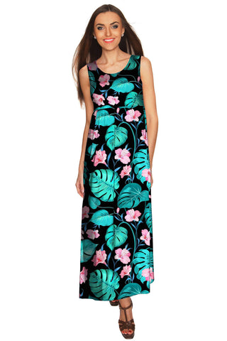 Amaryllis Bella Black Sleeveless Empire Waist Resort Maxi Dress Women - Pineapple Clothing